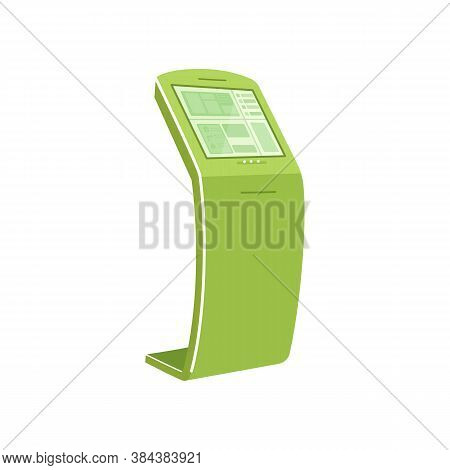 Green Self Service Kiosk Flat Color Vector Object. Interactive Device For Checkout. Touch Screen Pan