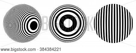 Set Of Balls Of Optical Illusion. Spheres From Different Angles. Sphere Of Stripes. Vector. Black An