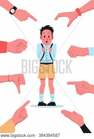 Bullying School Poster. Vector Illustration Of A Shy Confused Boy With Backpack Stands At School And