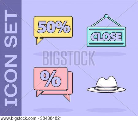 Set Man Hat With Ribbon, Fifty Discount Percent Tag, Discount Percent Tag And Hanging Sign With Clos
