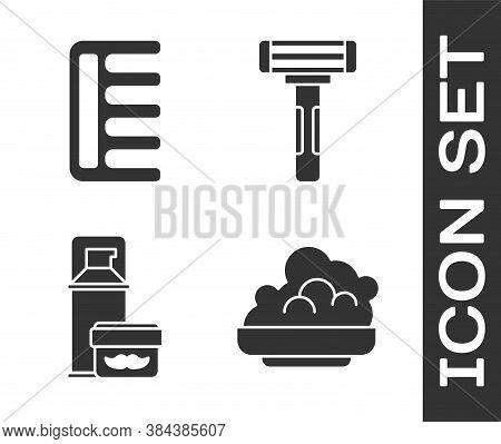 Set Shaving Gel Foam, Hairbrush, Shaving Gel Foam And Shaving Razor Icon. Vector