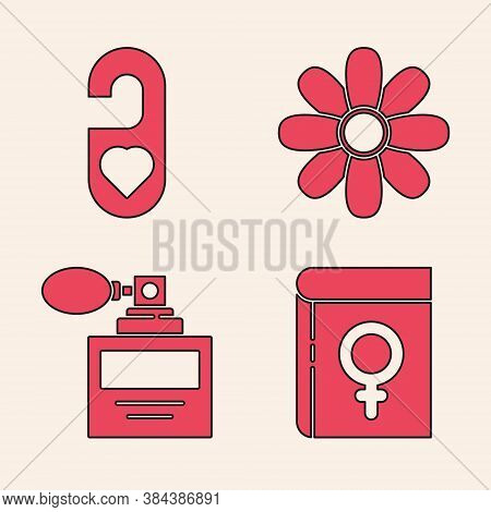 Set Book About Women, Please Do Not Disturb With Heart, Flower And Perfume Icon. Vector