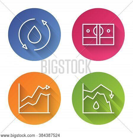 Set Line Oil Drop, Stacks Paper Money Cash, Oil Price Increase And Drop In Crude Oil Price. Color Ci
