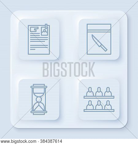 Set Line Lawsuit Paper, Evidence Bag And Knife, Old Hourglass With Sand And Jurors. White Square But