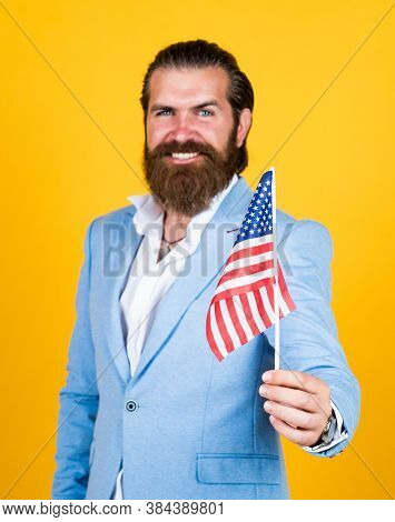 Happy Independence Day. Education Of Patriotism. Pursuit Of Happiness. Proud Of His Land. Bearded Ma