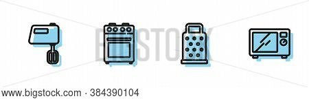 Set Line Grater, Electric Mixer, Oven And Microwave Oven Icon. Vector