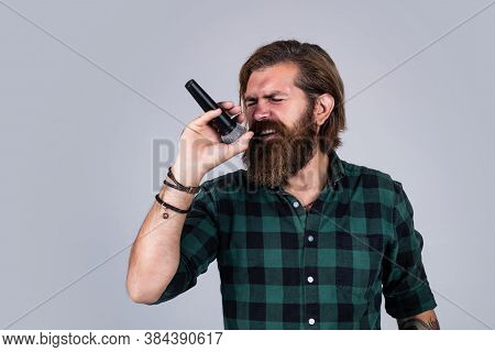Male Singer With Mic. Concept Of Karaoke. Man Singer Love Music. Brutal Man Sing With Microphone. Vo