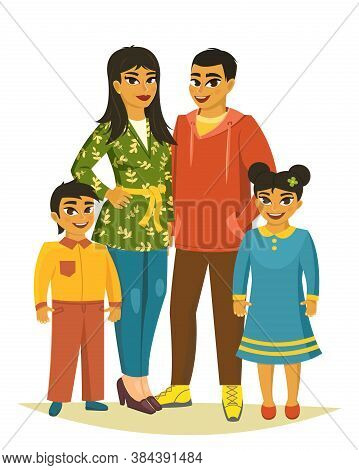 Happy Family, Father, Mother, Sons And Daugther. Vector Illustration
