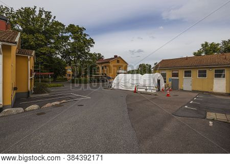 Landscape View Of Temporary Outdoor Medical Center For Taking Covid19 Test. 08.20.2020. Uppsala. Swe