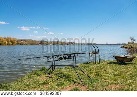 Carp Fishing Session At The Lake.carp Angling Scenic Landscape Overlooking Lake At Dawn.fishing Adve