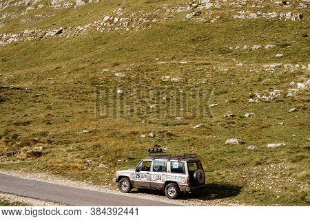 Zabljak, Montenegro - 23 July 2020: Isuzu Trooper Sports Rally Off-road Car Of 1991, In Stickers Wit