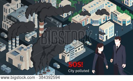 People Wearing Protective Masks In Polluted With Chimneys Smoke Industrial Smog Vehicles Exhaust Emi