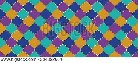 Eid Mubarak Muslim Decoration. Seamless Moroccan Design Persian Mosque Window Tile. Traditional Rama