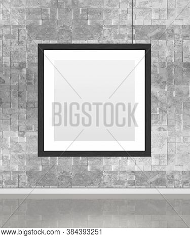 Art Museum Wall With A Single Square Frame. Vertical Image. Industrial Style Modern Museum. 3d Rende