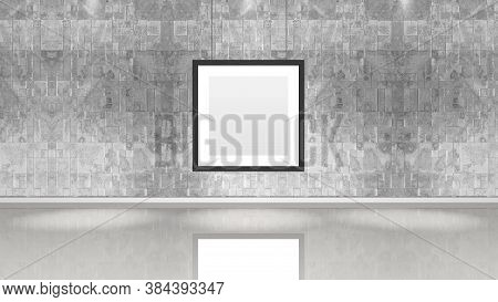 Art Museum Wall With A Single Square Frame. Horizontal Image. Industrial Style Modern Museum. 3d Ren