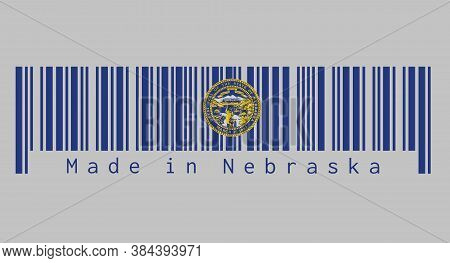 Barcode Set The Color Of Nebraska Flag. Seal Of Nebraska In Gold On An Azure Field. Text: Made In Ne