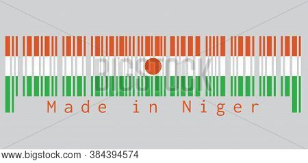 Barcode Set The Color Of Niger Flag, Orange White And Green; Charged With An Orange Circle In The Ce
