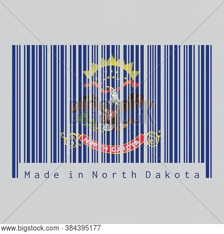 Barcode Set The Color Of North Dakota Flag, The States Of America. Flag Of The Unit By State Troops