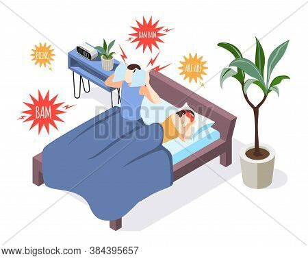 Noise Pollution Isometric Background Composition With Sleepless Man In Bed Closing Ears Against Anno