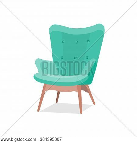 Stylish Trendy Model Of An Armchair In A Trendy Green Color With Armrests On Wooden Legs. Isolated V