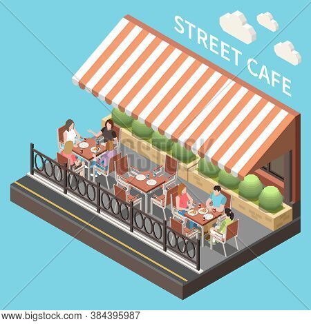 Colored And Isometric Street Cafe Terrace Composition Open Summer Terrace With Guests Vector Illustr