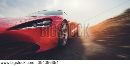 Fast sports car on road in motion blur. 3D render