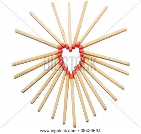 Hearth shaped with matches
