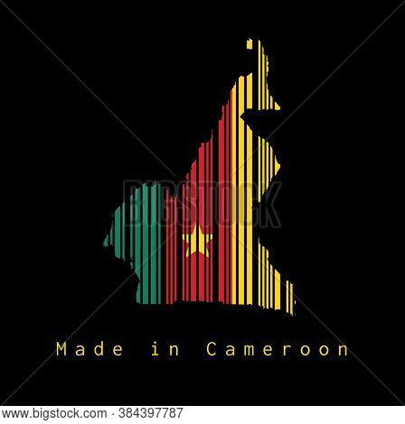 Barcode Set The Shape To Cameroon Map Outline And Flag Color On Black Background, Text: Made In Came