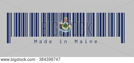 Barcode Set The Color Of Maine Flag. Maine Coat Of Arms Defacing Blue Field. Text: Made In Maine. Co