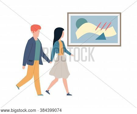 Exhibition Visitors Looking Art. Couple Man And Woman Walk Hold Hands And Look Artworks And Pictures