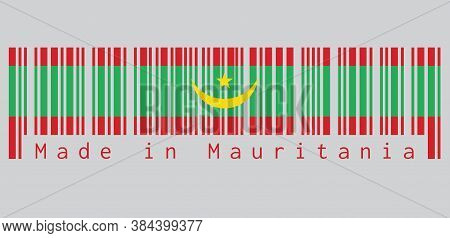 Barcode Set The Color Of Mauritania Flag, Two Red Stripes Flanking A Green Field With A Golden Cresc