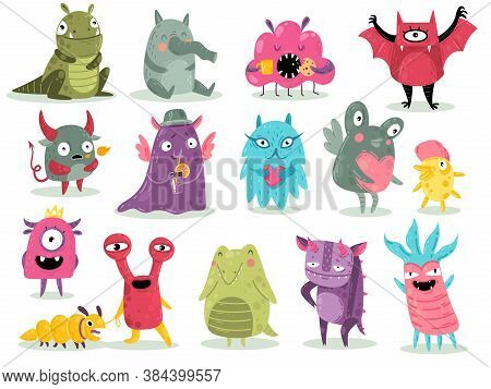 Cartoon Monsters. Cute Goblins, Colorful Crazy Alien Characters, Funny Comic Gremlins, Little Bright