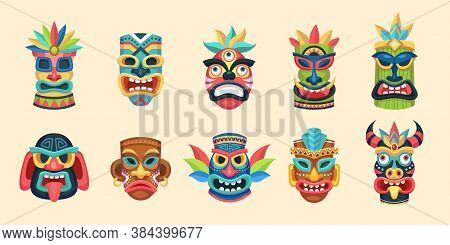 Tribal Mask. Ethnic African, Aztec And Hawaiian Ritual Aboriginal Face Masks, Traditional Exotic Ind
