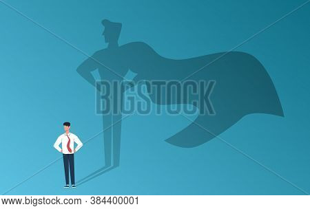 Businessman With Superhero Shadow. Leadership Professional Ambition, Achievement And Business Succes