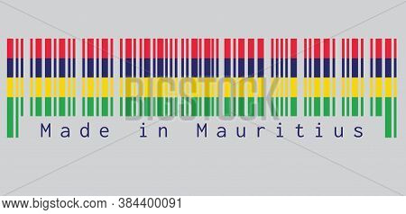 Barcode Set The Color Of Mauritius Flag, Four Horizontal Bands Of Red Blue Yellow And Green. Text: M