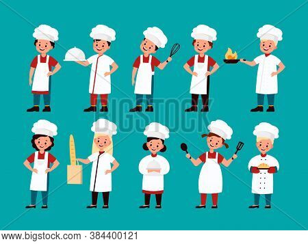 Chef Kids. Happy Gourmet Children Cook Delicious Food On Kitchen, Fun Confectioner Boy And Girl In C