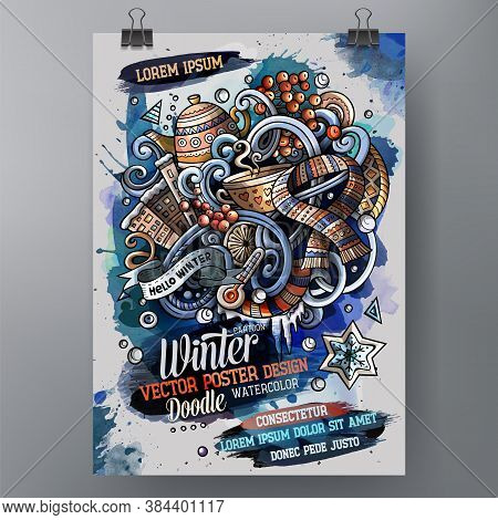 Cartoon Hand Drawn Watercolor Doodles Winter Poster Design Template. Very Detailed, With Lots Of Obj