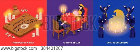 Isometric Psychic Fortune Occult Design Concept With Square Compositions Of Spirit Rapping Procedure