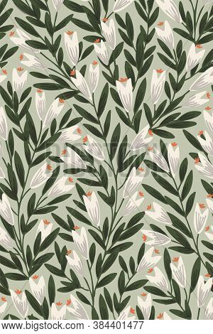 Pointy Flower Ever-growing Garden Seamless Vector Pattern. Pretty Closed White Flowers With Painted