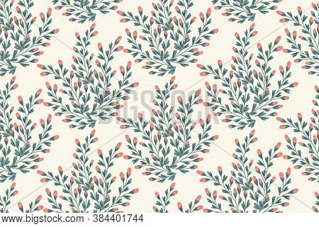 Flower Buds With Leaves Seamless Vector Pattern. Plant Pattern With Flower Buds In Coral And Heart S