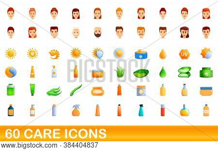 60 Care Icons Set. Cartoon Illustration Of 60 Care Icons Vector Set Isolated On White Background
