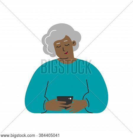 Vector Isolated Flat Concept. Cartoon African American Senior Woman Writes A Message On The Phone. C