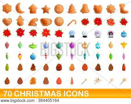 70 Christmas Icons Set. Cartoon Illustration Of 70 Christmas Icons Vector Set Isolated On White Back