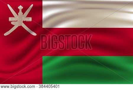 Flag Of Oman. Realistic Waving Flag Of Sultanate Of Oman. Fabric Textured Flowing Flag Of Oman.