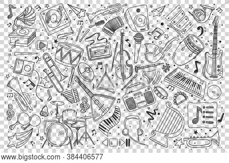 Music Doodle Set. Collection Of Hand Drawn Sketches Templates Drawing Patterns Of Musical Instrument