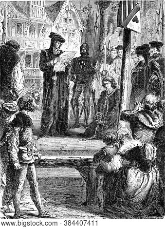 Jacques Coeur making amends in the public square of Poitiers, Vintage engraving. From Popular France, 1869.