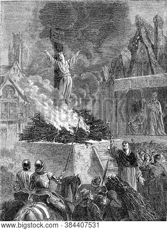 Jeanne Darc at the stake, Vintage engraving. From Popular France, 1869.