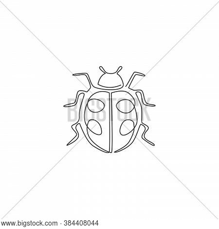 Single Continuous Line Drawing Of Adorable Ladybug For Company Logo Identity. Insect Mascot Concept