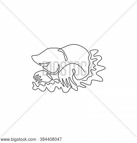 Single One Line Drawing Of Destructive Lawn Mole For Company Logo Identity. Rat Rodent Mammal Mascot