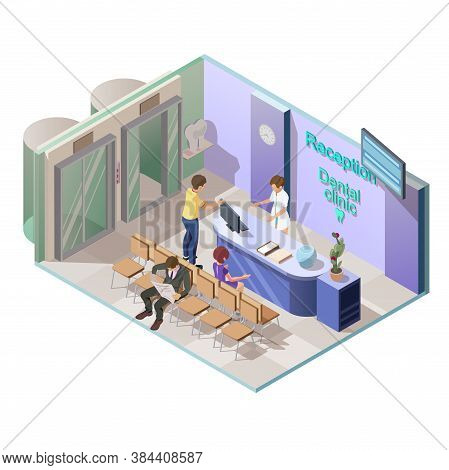Isometric 3d Vector Illustration Of Medical Dental Clinic , Reception Interior With Receptionist And
